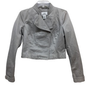 A|X Armani Exchange Gray Moto Crop Jacket M